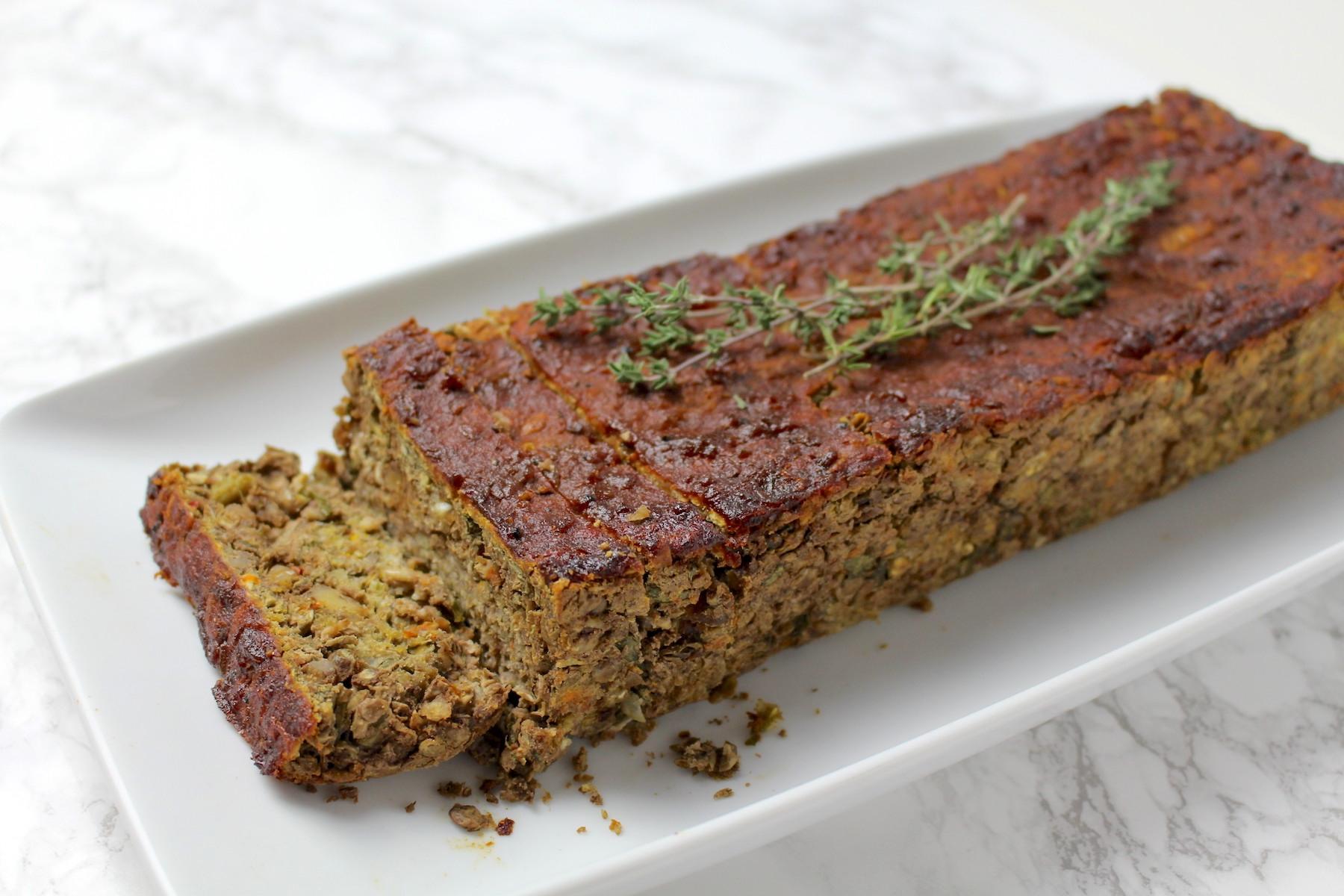 Weihnachtsmenü Vegan.Linsenbraten Mit Barbecue Glasur