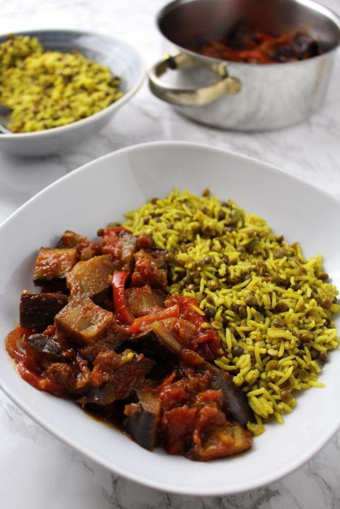 Persian rice with lentils and eggplant stew