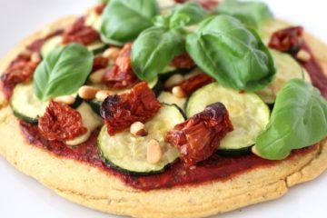 Veggie Pizza vegan glutenfrei Kichererbsen Cashew