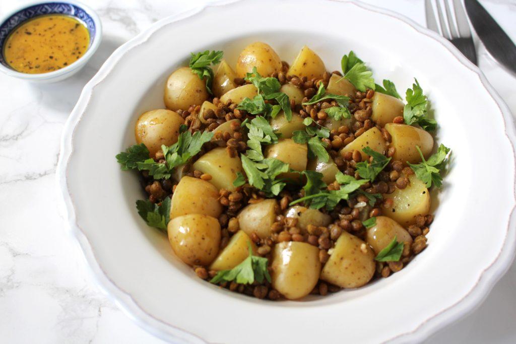 warmer Kartoffel-Linsen-Salat-vegan
