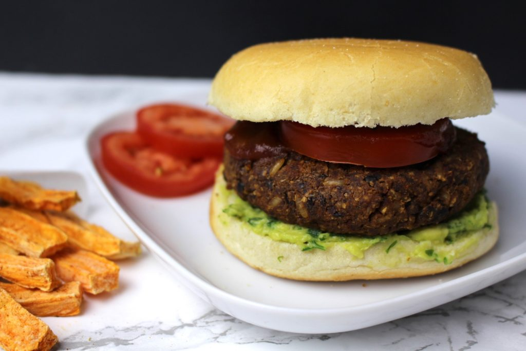 vegan burger black beans rice