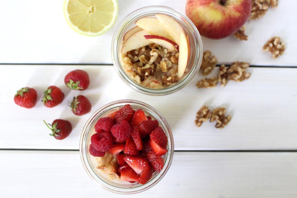 Bircher Müsli vegan Erdbeer Apfel Overnight Porridge