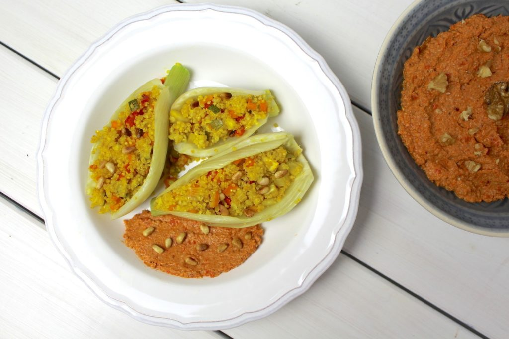 Quinoa stuffed fennel boats