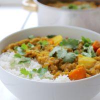 Indian Potato Lentil Stew Vegan Dahl