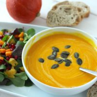 Creamy pumpkin soup ginger vegan