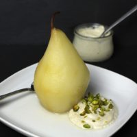 Poached Pear Helene vegan