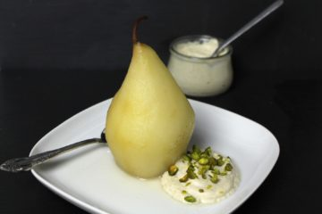 Poached Pear Helene vegan