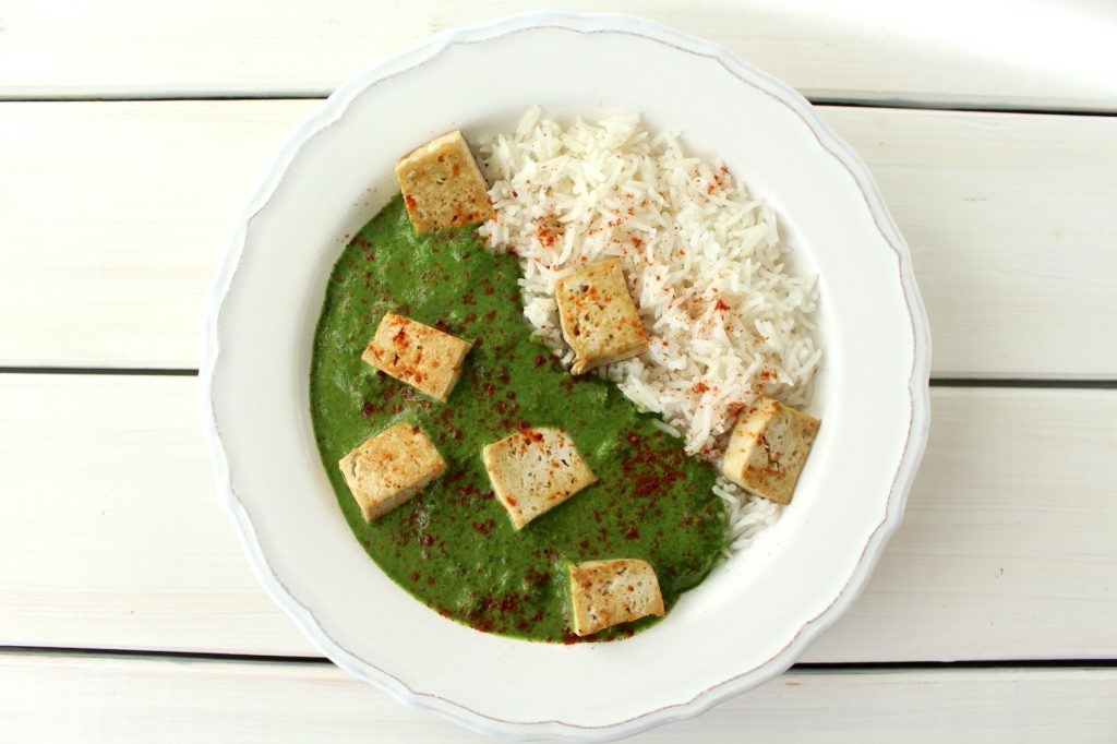 Palak Paneer vegan Palak Tofu spinach curry Spinat