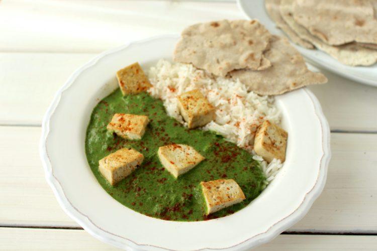 Palak Paneer vegan Palak Tofu spinach curry