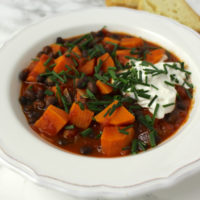 sweet potato black bean stew vegan Süßkartoffel Bohnen Eintopf
