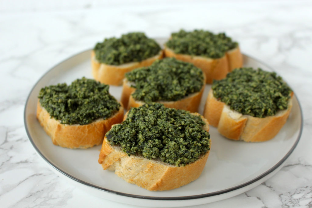 bruschetta pumpkin seed pesto vegan