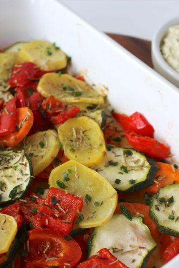 roasted vegetables ofengemüse quark vegan tofu