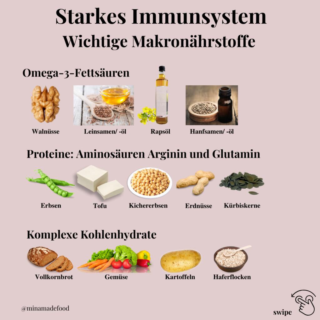 wichtige Nährstoffe Omega 3 Kohlenhydrate Proteine für ein starkes Immunsystem